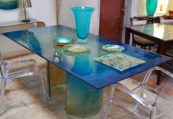 Blazzing House: Modern And Attractive Glass Dining Table Design For Blue Dining Tables (Image 8 of 20)