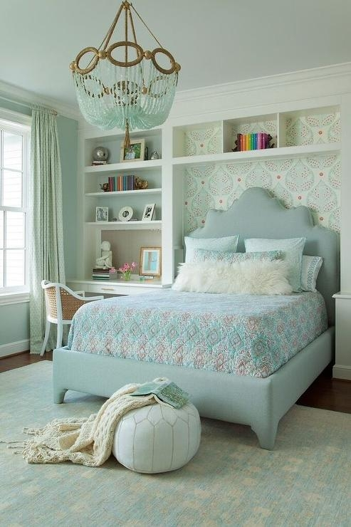 Blue And Gray Girl Bedroom With Turquoise Beaded Chandelier Intended For Turquoise Bedroom Chandeliers (Image 23 of 25)