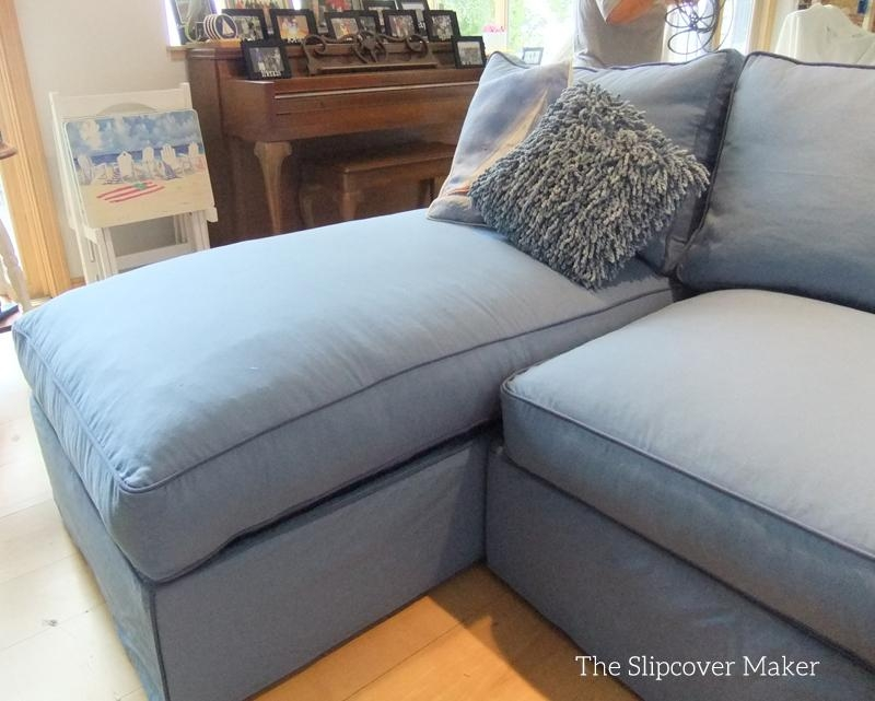 Blue Canvas Slipcover For Big Sectional Sofa | The Slipcover Maker Within Blue Slipcover Sofas (Image 5 of 20)