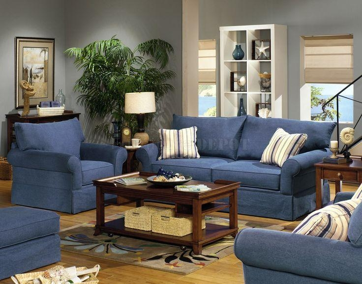 Blue Living Room Furniture Sets | Blue Denim Fabric Modern Sofa With Regard To Denim Sofas And Loveseats (Image 10 of 20)
