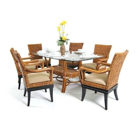 Boca Rattan Dining Room Tables | Homeclick In Wicker And Glass Dining Tables (Image 3 of 20)