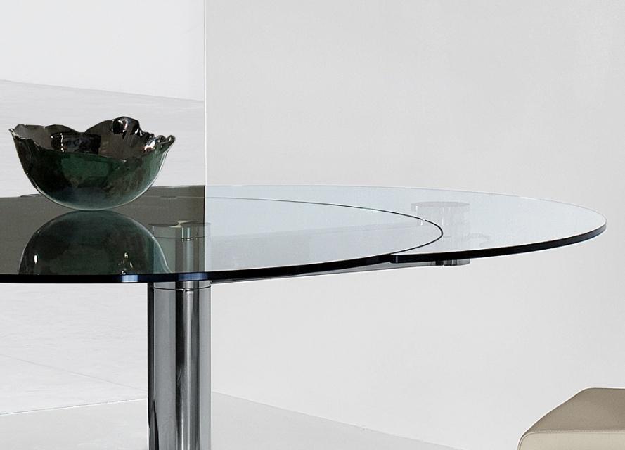 Bonaldo Plinto Round Extending Dining Table , Extendable Dining With Glass Round Extending Dining Tables (Image 2 of 20)