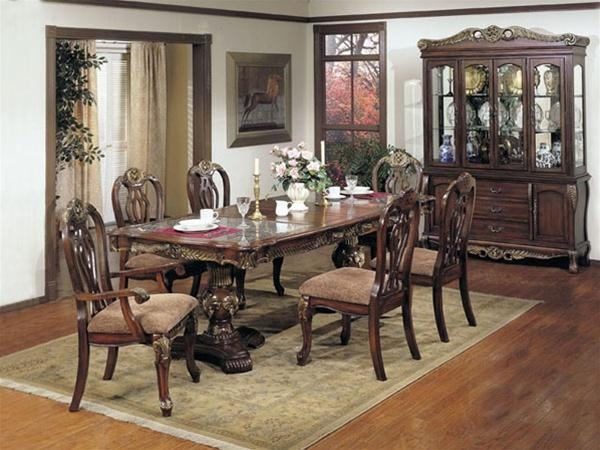 Bordeaux Marble Top, Gold Brushed 7 Piece Dining Set In Distressed With Bordeaux Dining Tables (Image 10 of 20)