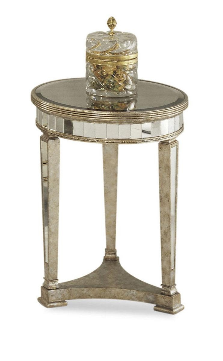 Borghese Mirrored Round End Table (Antique Mirror & Silver Leaf In Silver Antique Mirror (Image 7 of 20)