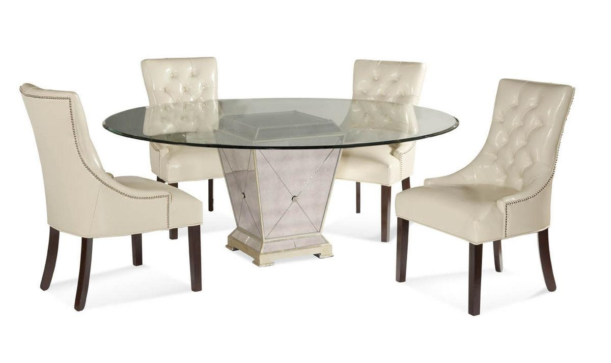 Borghese Round Dining Set (Antique Mirror & Silver Leaf Finish Regarding Silver Antique Mirror (Image 8 of 20)