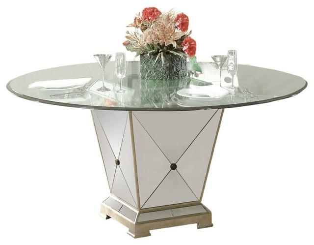 Borghese Round Pedestal Glass Top Dining Table – Dining Tables For Mirror Glass Dining Tables (Image 6 of 20)