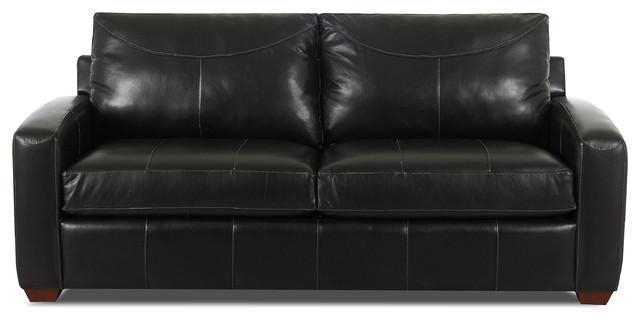 Boulder Leather Queen Sleeper Sofa In Durango Black – Contemporary Throughout Black Leather Convertible Sofas (Image 7 of 20)