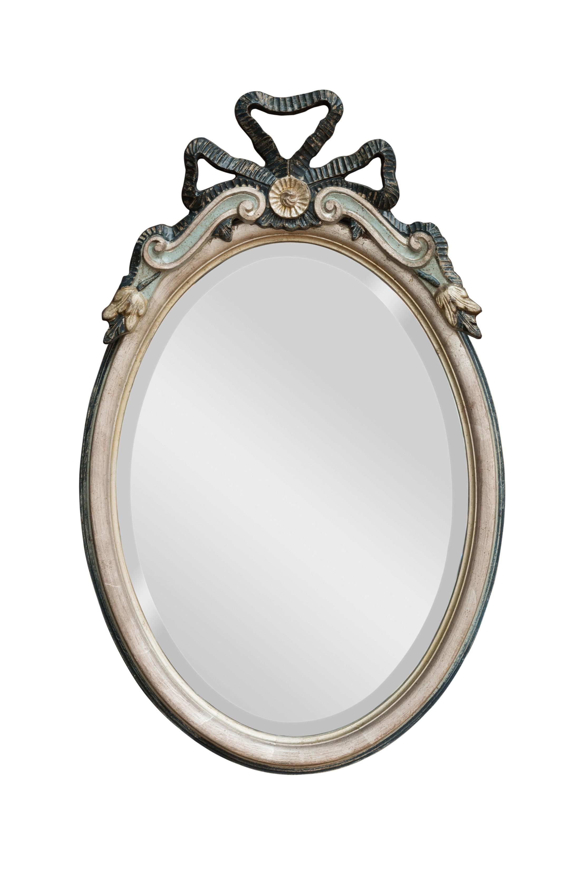 Bow Top Oval Mirror | Hall Mirrors For Sale – Panfili Mirrors Throughout Oval Silver Mirror (Image 4 of 20)