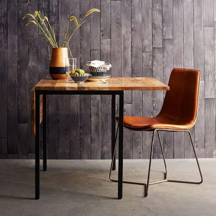 Box Frame Drop Leaf Expandable Table | West Elm For Drop Leaf Extendable Dining Tables (Image 6 of 20)