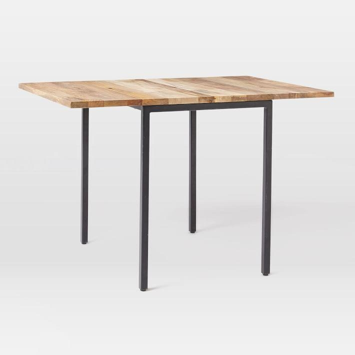 Box Frame Drop Leaf Expandable Table | West Elm Pertaining To Drop Leaf Extendable Dining Tables (Image 7 of 20)