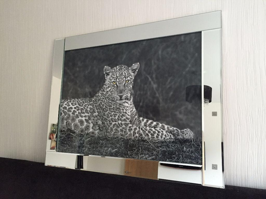 Brand New Large Leopard Black Glass Liquid Wall Art 3D Glitter Pertaining To Liquid Glass Mirrors (Image 6 of 20)