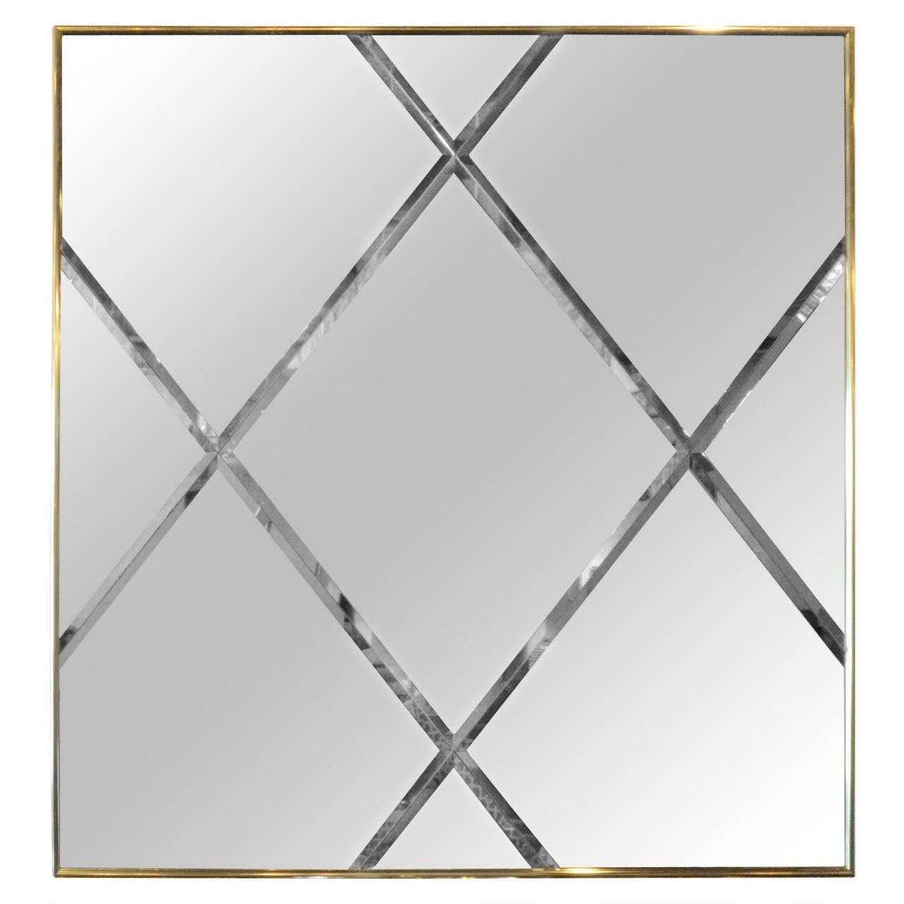 Brass Harlequin Pattern Beveled Glass Mirror For Sale At 1Stdibs With Regard To Bevelled Glass Mirrors (Image 6 of 20)