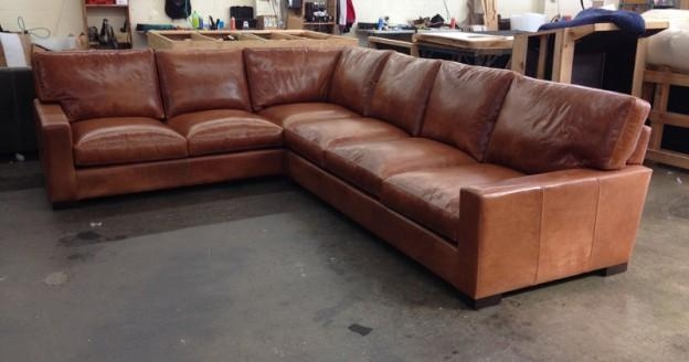 "Braxton Leather ""L"" Sectional Sofa – Studio Depth – Glove Chestnut Pertaining To Braxton Sectional Sofas (Image 7 of 20)"