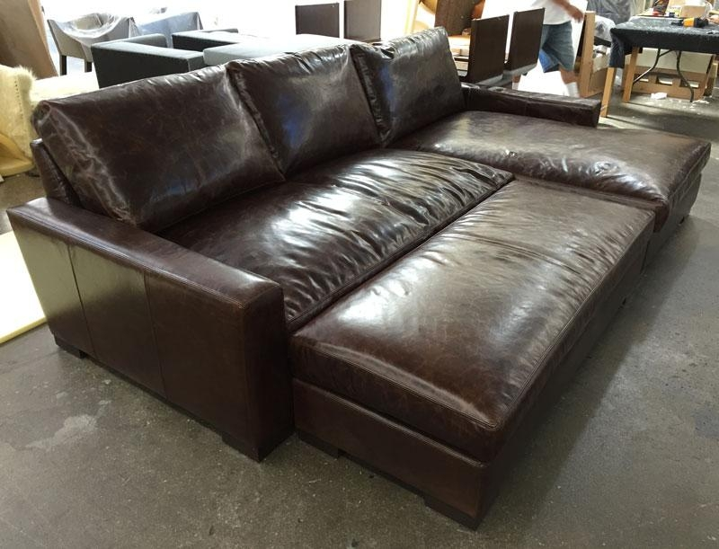 Braxton Leather Sofa Chaise Sectional In Brompton Cocoa Mocha Regarding Braxton Sectional Sofas (Image 10 of 20)