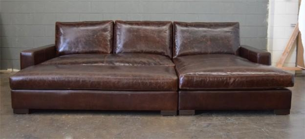 Braxton Sofa Chaise Sectional In Italian Brompton Cocoa | The For Brompton Leather Sectional Sofas (Image 5 of 20)