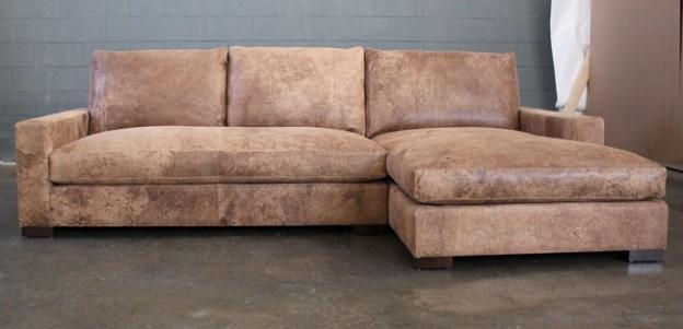 Braxton Sofa Chaise Sectional In Italian Destroyed Leather With Regard To Braxton Sectional Sofas (Image 17 of 20)