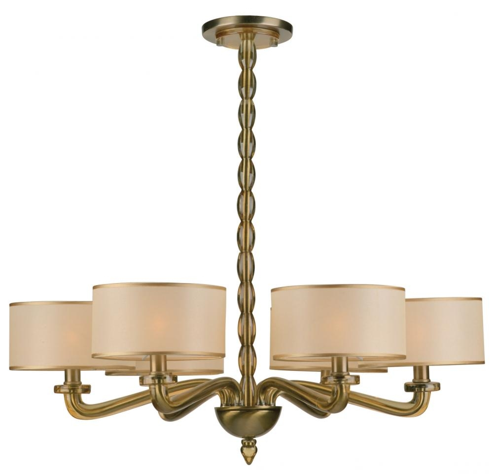Bright Brass Chandelier With Shades 83 Brass Chandelier With Glass In Old Brass Chandeliers (Photo 9 of 25)
