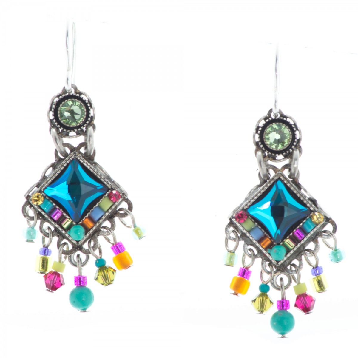 Bright Mini Chandelier Multi Color Austrian Crystal Earrings Throughout Turquoise Mini Chandeliers (Image 13 of 25)