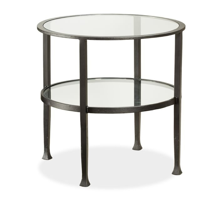 Brilliant Best Antique Glass Pottery Barn Coffee Tables In Tanner Round Side Table Bronze Finish Pottery Barn (Image 11 of 50)