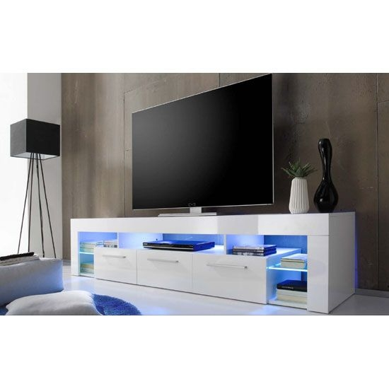 Brilliant Best Milano TV Stands Intended For Sorrento Large Tv Stand In White High Gloss With Blue Led Light (Image 11 of 50)