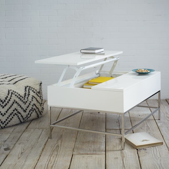 Brilliant Best Opens Up Coffee Tables  Throughout Lacquer Storage Coffee Table West Elm (Image 10 of 40)