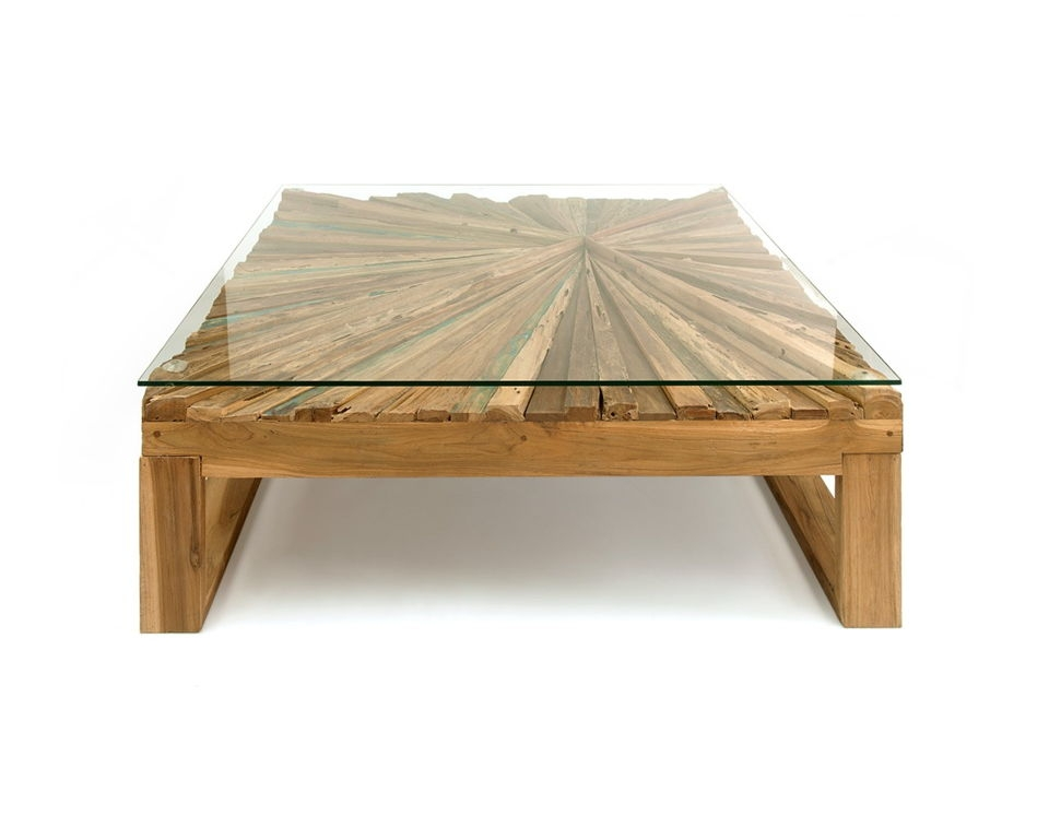 Brilliant Best Reclaimed Wood And Glass Coffee Tables Intended For Square Glass Top Rustic Wood Coffee Table Made From Reclaimed Wood (View 9 of 50)