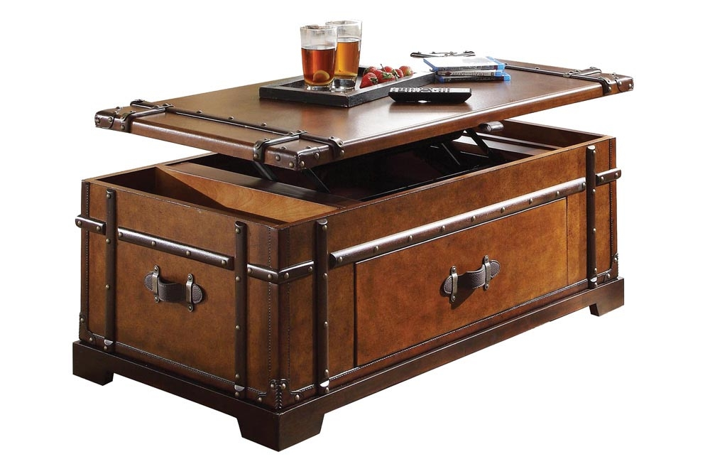 Brilliant Best Storage Trunk Coffee Tables For Living Room Great Rustic Storage Trunk Coffee Table Industrial (Image 10 of 50)