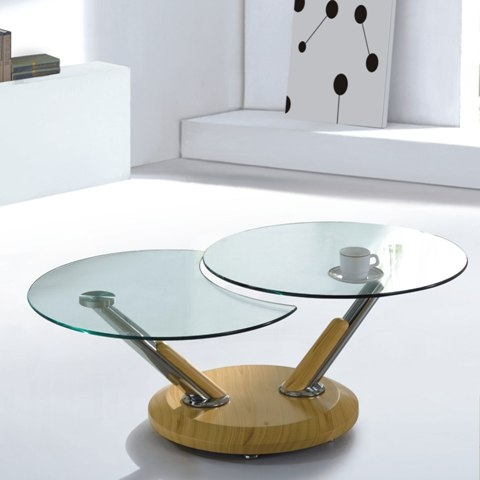 Brilliant Best Tokyo Coffee Tables Within Tokyo Clear Glass Top Coffee Table In Beech 3783 Furniture (Image 10 of 50)