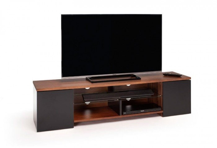 Brilliant Best Walnut TV Stands With Regard To Trio Satin Black And Walnut Tv Stand Tr165wb (View 23 of 50)