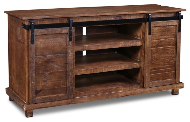 Brilliant Brand New Brown TV Stands Regarding Westgate Rustic Brown 66 Sliding Barn Door Tv Standmedia Console (View 27 of 45)