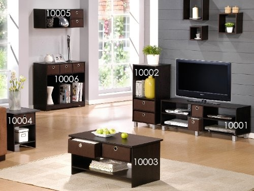 Brilliant Brand New Coffee Tables And TV Stands Matching Intended For Amazon Furinno 10003exbr Espresso Finish Living Set Center (View 25 of 50)