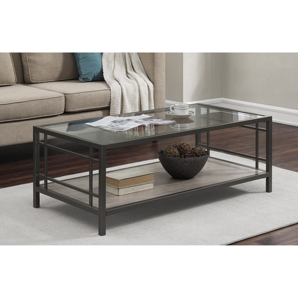 Brilliant Brand New Glass Metal Coffee Tables Within Alice Wood Glass Metal Coffee Table Free Shipping Today (Photo 35 of 50)