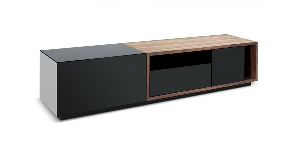 Brilliant Brand New Modern Black TV Stands Inside Tv047 Large Modern Tv Stand In Black And Walnut Finish (Image 10 of 50)