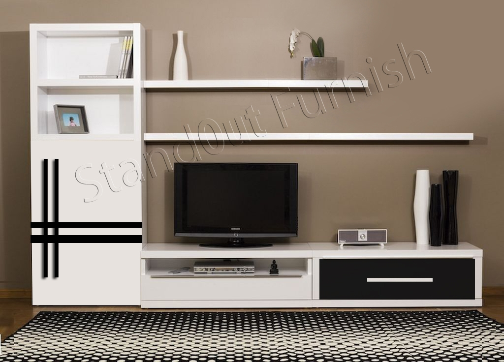 Brilliant Brand New Modern TV Cabinets Designs Inside Modern Tv Unit 160cm Cabinet Black Matt And Black High Gloss Free (Image 7 of 50)