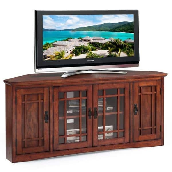 Brilliant Brand New Oak Corner TV Stands Pertaining To Mission Oak Hardwood 57 Inch Corner Tv Stand Free Shipping Today (Image 11 of 50)