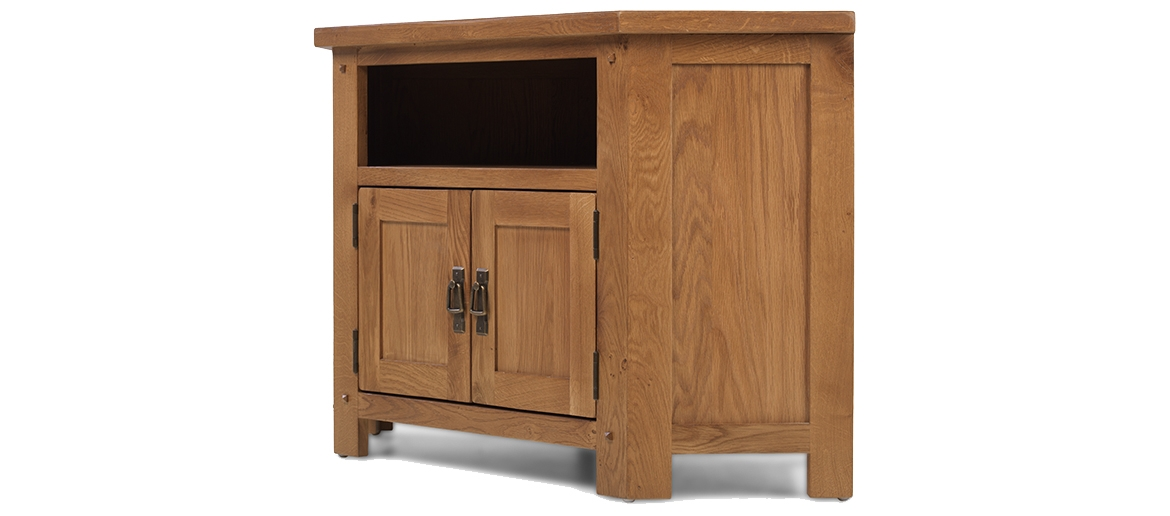 Brilliant Brand New Pine TV Cabinets Pertaining To Rustic Oak Corner Tv Cabinet Quercus Living (Image 9 of 50)