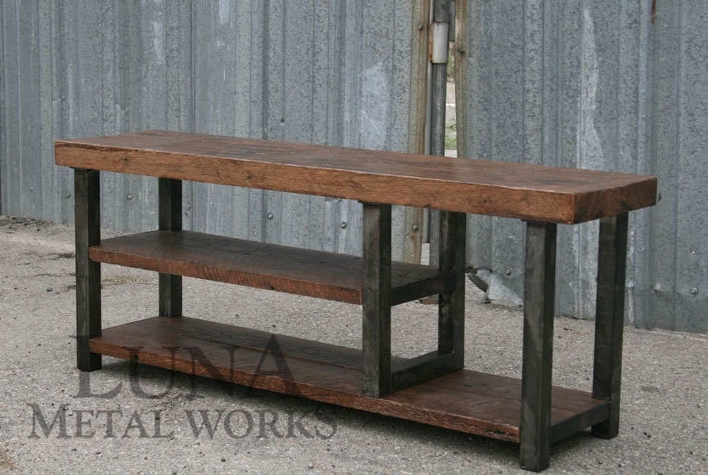 Brilliant Brand New Reclaimed Wood And Metal TV Stands With Industrial Furniture Designs Luna Metal Works (Image 9 of 50)