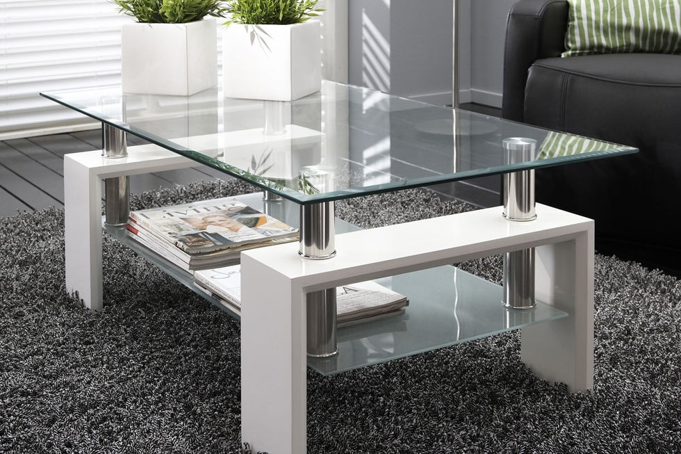Brilliant Brand New Rectangle Glass Chrome Coffee Tables For White Modern Rectangle Glass Chrome Living Room Coffee Table (Image 9 of 50)