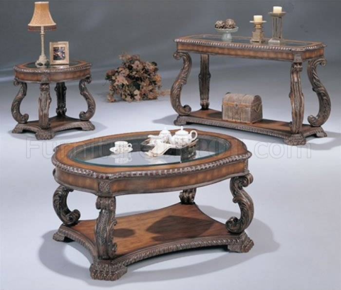 Brilliant Common Antique Glass Coffee Tables For Antique Cherry Traditional Coffee Table With Glass Inlays (Image 7 of 40)