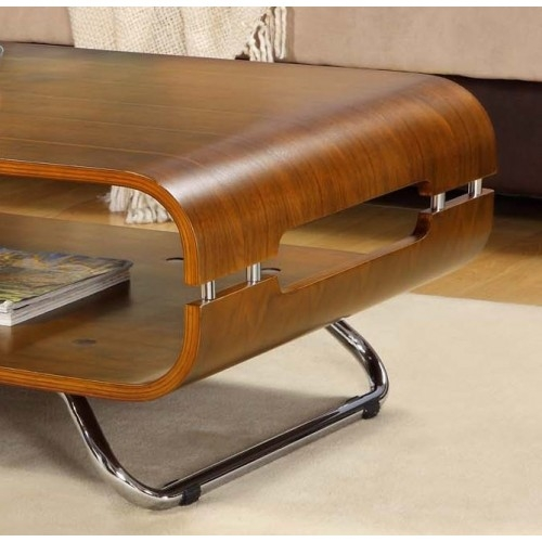 Brilliant Common Curve Coffee Tables With Regard To Jual Curve Coffee Table Walnut And Chrome Ebay (Image 9 of 50)