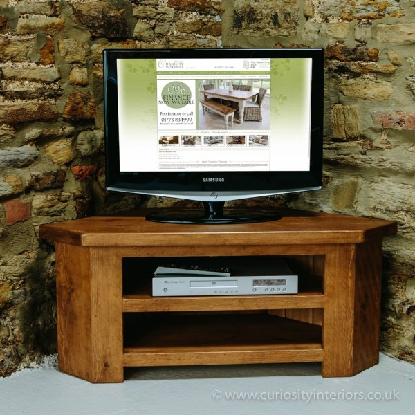 Brilliant Common Dark Oak Corner TV Cabinets In Sherwood Plank Low Corner Tv Unit Tv Stand From Curiosity Interiors (Image 12 of 50)