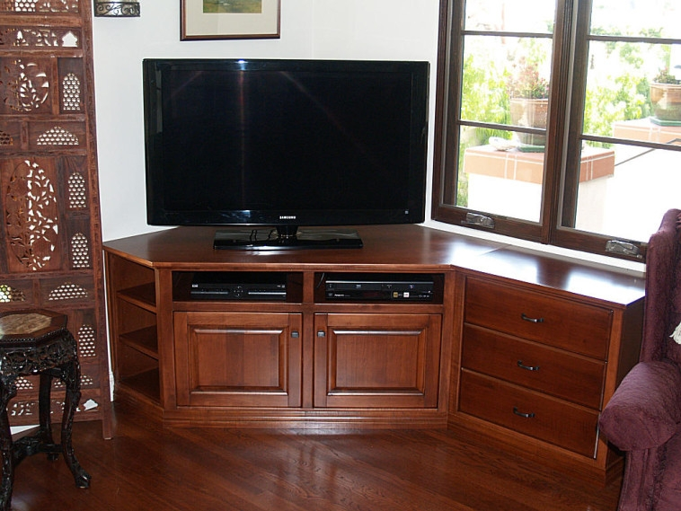 Brilliant Common Dark Oak Corner TV Cabinets Throughout Bedroom Customized Brown Varnished Oak Wood Media Console Table (Image 13 of 50)