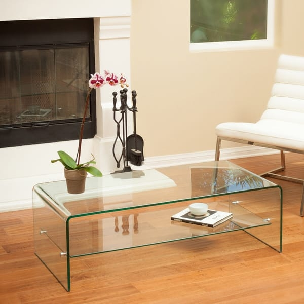 Brilliant Common Glass Coffee Tables With Shelf Inside Ramona Glass Coffee Table With Shelf Christopher Knight Home (View 27 of 50)
