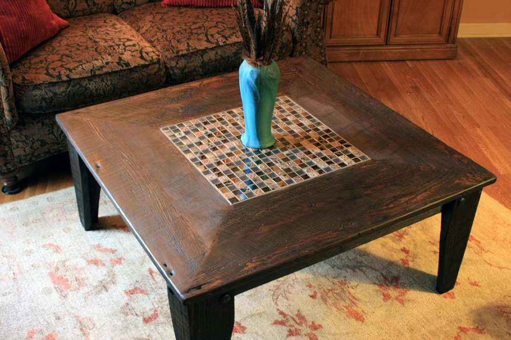 Brilliant Common Reclaimed Wood And Glass Coffee Tables Pertaining To Square Coffee Table Glass Stone Tile Mosaic Reclaimed (View 40 of 50)