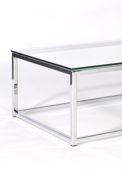 Brilliant Common Rectangle Glass Chrome Coffee Tables With Regard To Modern Chrome Glass Coffee Table Design (Image 10 of 50)