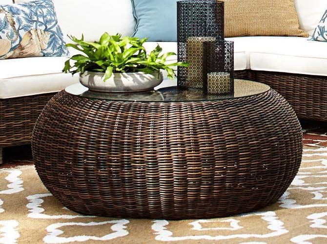 Brilliant Common Round Woven Coffee Tables Throughout Appealing Round Wicker Coffee Table Large Round Wicker Coffee (Image 14 of 50)