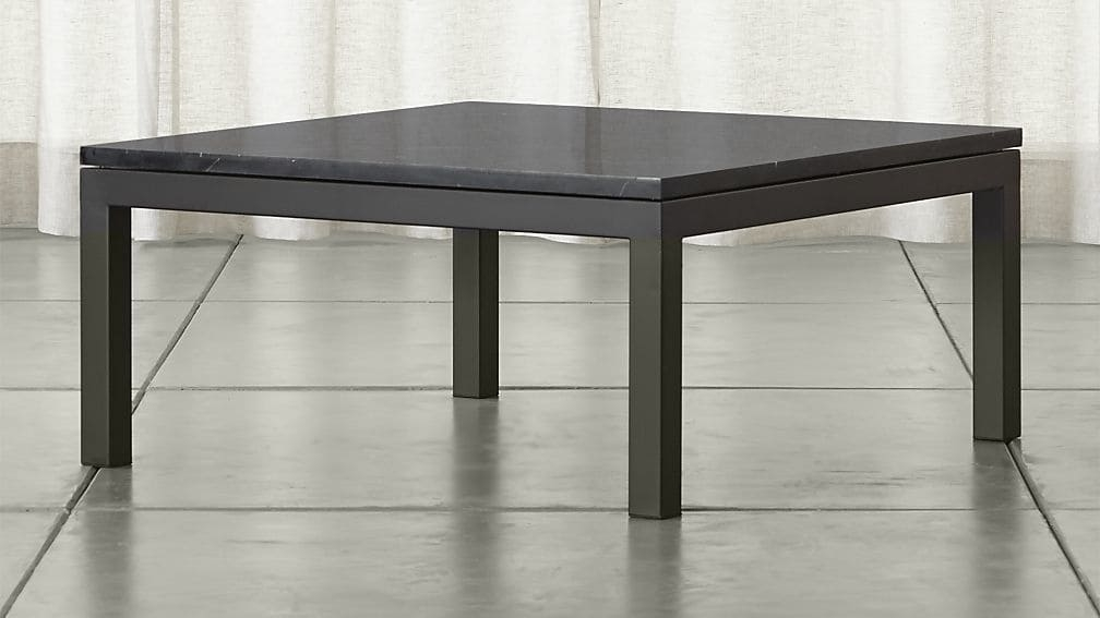 Brilliant Common Square Black Coffee Tables Inside Parsons Black Marble Top Dark Steel Base 36×36 Square Coffee (View 28 of 40)