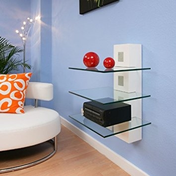 Brilliant Common Wall Mounted TV Stands With Shelves Regarding Wall Shelves Design Fabulous Glass Tv Shelves Wall Mount Shelf (Image 11 of 50)