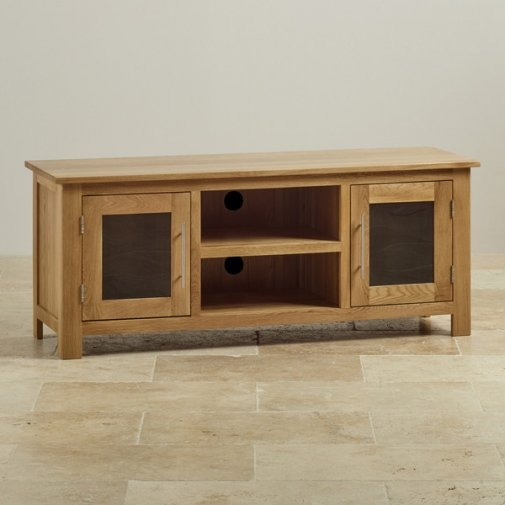 Brilliant Common Wide TV Cabinets Throughout Tv Cabinets Units 100 Solid Hardwood Oak Furniture Land (Image 10 of 50)