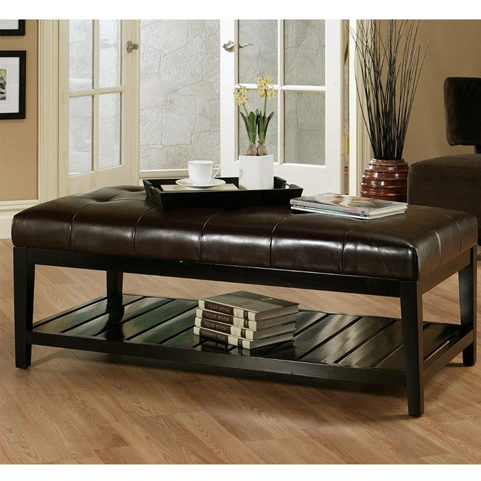 Brilliant Deluxe Brown Leather Ottoman Coffee Tables Throughout Leather Coffee Table (View 4 of 50)